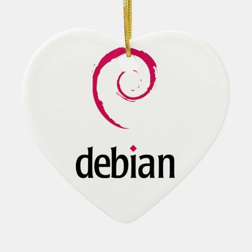 logotipo debian de Linux Adorno Navideño De Cerámica En Forma De Corazón