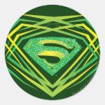 Logotipo decorativo verde del superhombre pegatinas redondas