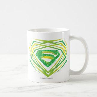 Logotipo decorativo verde del superhombre tazas de café