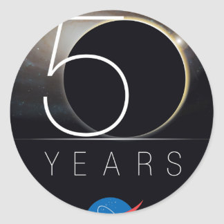 Logotipo del aniversario de la NASA 50.a Pegatina Redonda