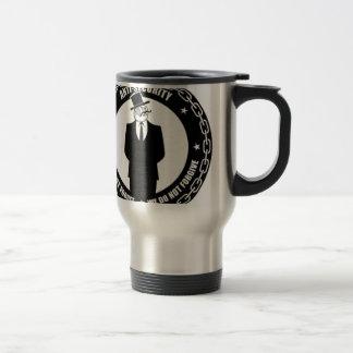 logotipo del antisec taza de viaje de acero inoxidable