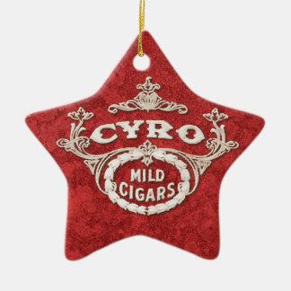 Logotipo del anuncio de la etiqueta del cigarro adorno de cerámica en forma de estrella