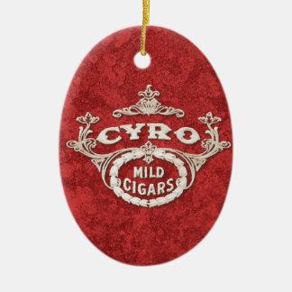 Logotipo del anuncio de la etiqueta del cigarro adorno ovalado de cerámica