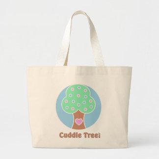 Logotipo del árbol de la abrazo bolsa tela grande