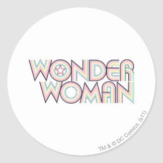 Logotipo del arco iris de la Mujer Maravilla Pegatina Redonda