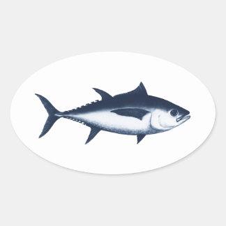 Logotipo del atún de priacántido colcomanias oval