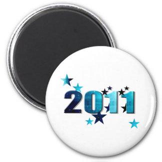 logotipo del azul de 2011 estrellas imán redondo 5 cm