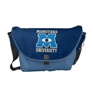 Logotipo del azul de la universidad de los monstru bolsa de mensajeria