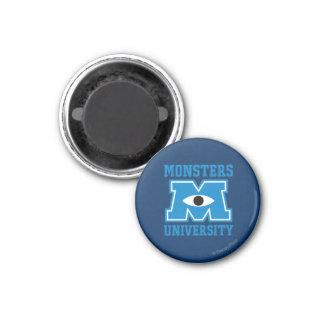 Logotipo del azul de la universidad de los monstru imán redondo 3 cm