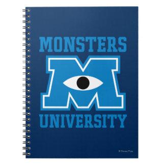 Logotipo del azul de la universidad de los monstru libros de apuntes con espiral