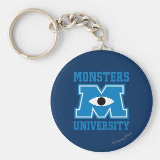 Logotipo del azul de la universidad de los monstru llavero redondo tipo pin