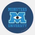Logotipo del azul de la universidad de los monstru pegatina redonda