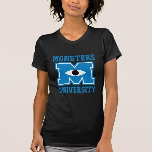 Logotipo del azul de la universidad de los monstru camiseta