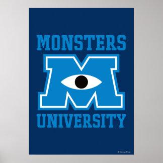 Logotipo del azul de la universidad de los monstru póster