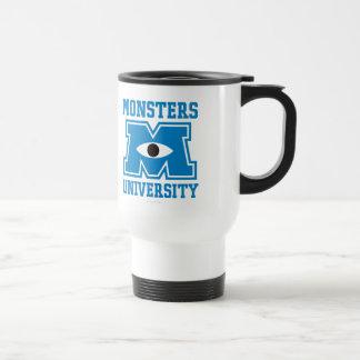 Logotipo del azul de la universidad de los monstru taza