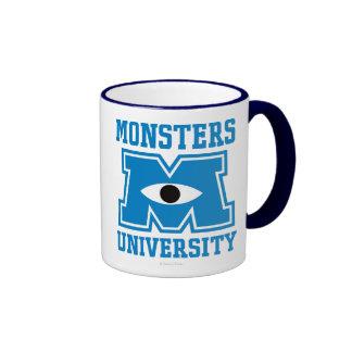 Logotipo del azul de la universidad de los monstru tazas