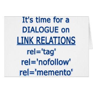 Logotipo del azul de las relaciones del vínculo tarjeta de felicitación