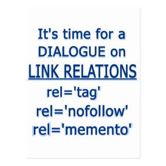 Logotipo del azul de las relaciones del vínculo tarjeta postal