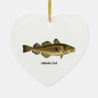 Logotipo del bacalao atlántico adorno navideño de cerámica en forma de corazón