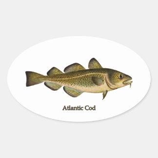 Logotipo del bacalao atlántico pegatina ovalada