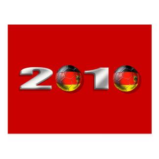 logotipo del balll del fútbol de 2010 alemanes tarjeta postal