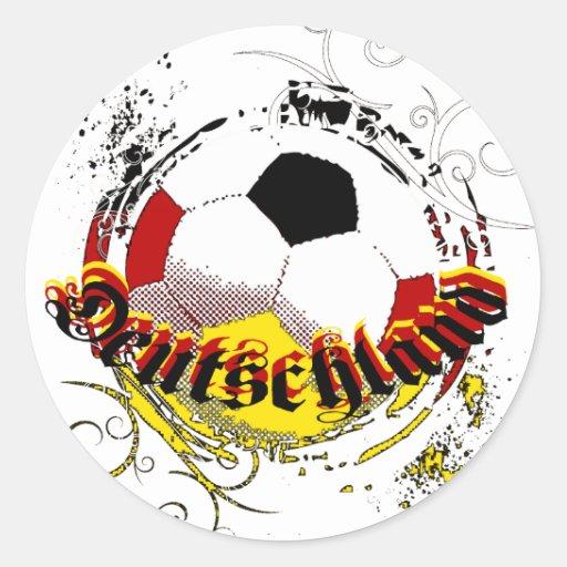 Logotipo del balón de fútbol del grunge de Deutsch Pegatinas
