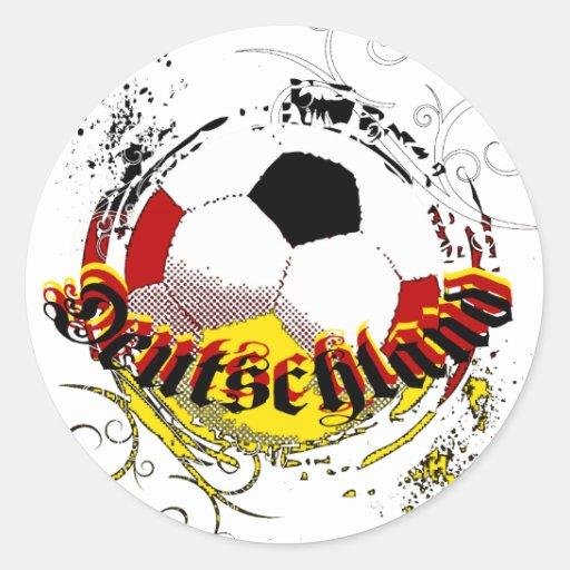 Logotipo del balón de fútbol del grunge de Deutsch Etiquetas Redondas