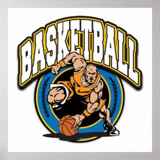 Logotipo del baloncesto de los hombres póster