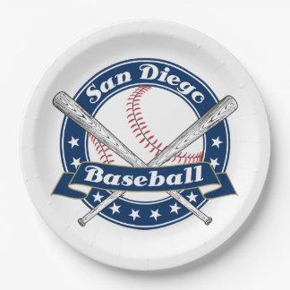 Logotipo del béisbol de San Diego Plato De Papel 22,86 Cm