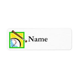 logotipo del béisbol etiqueta de remitente
