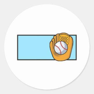 Logotipo del béisbol pegatina redonda