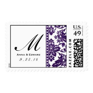 Logotipo del boda del cordón del damasco del sello