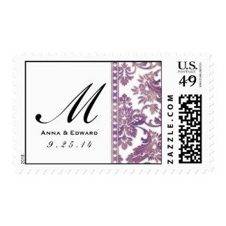 Logotipo del boda del cordón del damasco del sellos