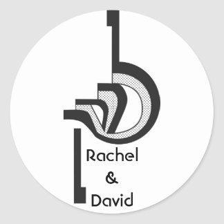 Logotipo del boda pegatina redonda