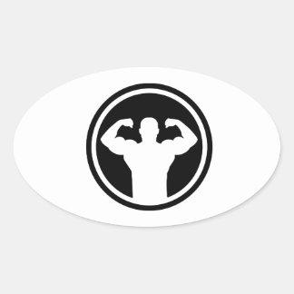Logotipo del Bodybuilding Pegatina De Oval