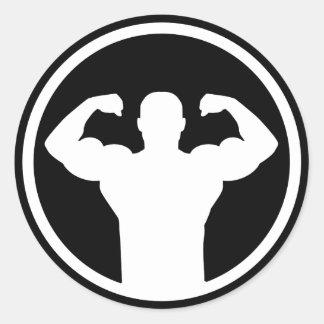 Logotipo del Bodybuilding Pegatina Redonda