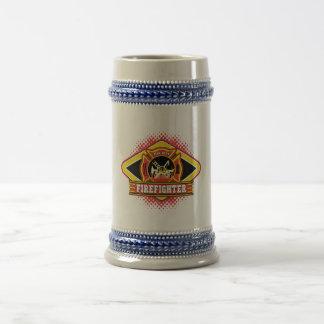 Logotipo del bombero jarra de cerveza