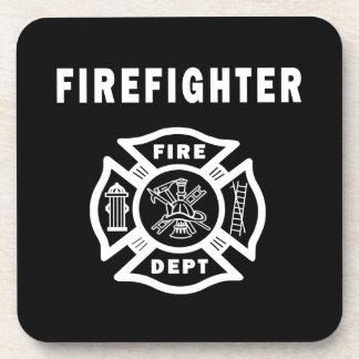 Logotipo del bombero posavasos de bebidas