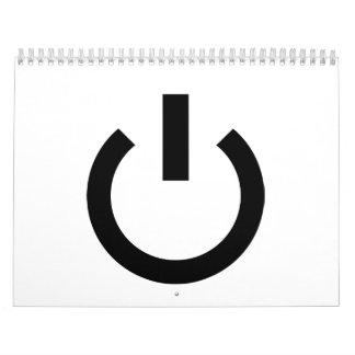 Logotipo del botón de encendido calendario de pared