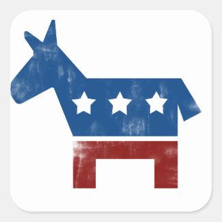 Logotipo del burro de Demócrata Pegatina Cuadrada