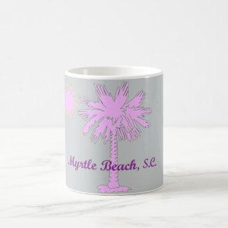 Logotipo del calor del Palmetto con Myrtle Beach, Taza Básica Blanca