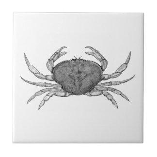 Logotipo del cangrejo de Dungeness (línea arte) Azulejo Cuadrado Pequeño