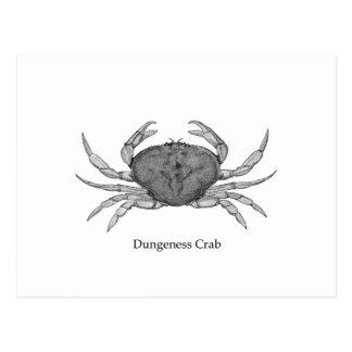 Logotipo del cangrejo de Dungeness (línea arte) Postal