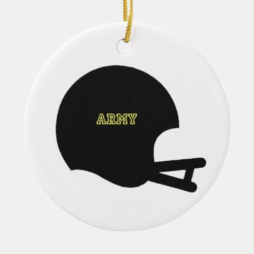 Logotipo del casco de fútbol americano del vintage adorno navideño redondo de cerámica
