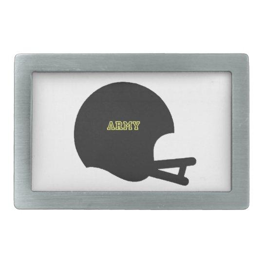 Logotipo del casco de fútbol americano del vintage hebilla cinturon rectangular