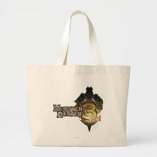 Logotipo del cazador del monstruo tri bolsas de mano
