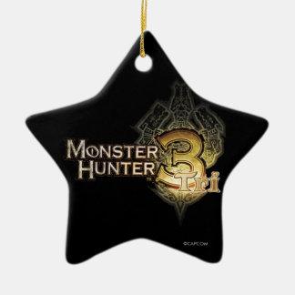 Logotipo del cazador del monstruo tri ornamento de navidad