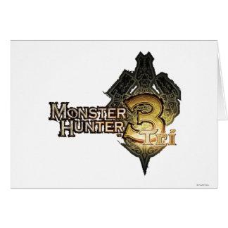 Logotipo del cazador del monstruo tri felicitación