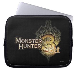 Logotipo del cazador del monstruo tri fundas ordendadores