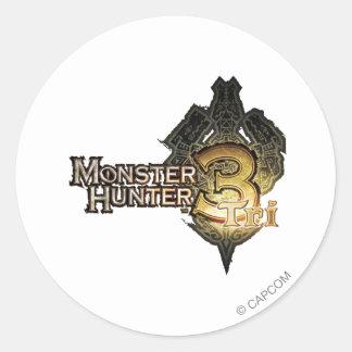 Logotipo del cazador del monstruo tri etiqueta redonda